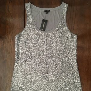 Express Grey/ Silver Sequin Tank Top